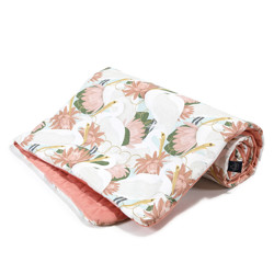 Imagine Patura  Toddler 110x140 Velvet Collection - Heron in pink lotus - Papaya