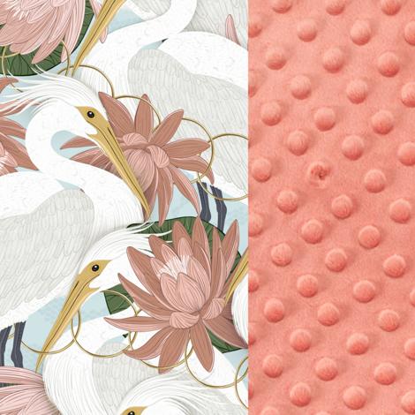 Imagine Perna Sleepy Pig Minky - Heron in pink lotus - Papaya