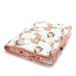 Imagine Patura  Toddler 110x140 Minky Collection - Heron in pink lotus - Papaya