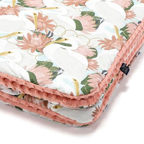 Imagine Patura  Toddler 110x140 Minky Collection - Heron in pink lotus - Papaya