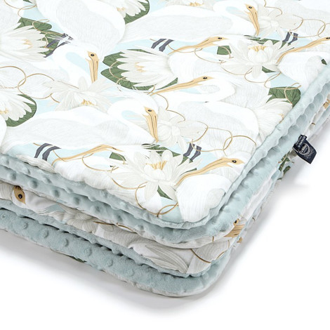 Imagine Patura  Toddler 110x140 Minky Collection - Heron in a cream lotus - Smoke Mint