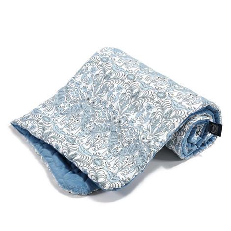 Imagine Patura  Toddler 80x100 Velvet Collection - Blue Cranes - Denim