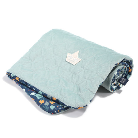 Imagine Patura  Toddler 80x100 Velvet Collection - French Blue Jardin - Smoke Mint