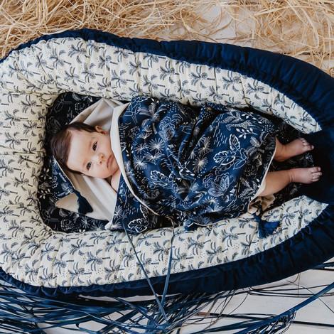 Imagine Baby Nest Velvet - Route66 Colour - Colour Stars - Dove Blue