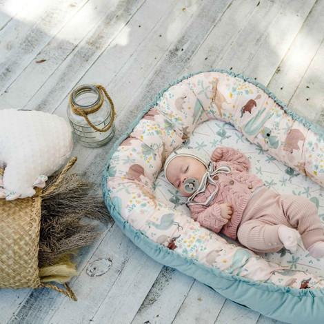 Imagine Baby Nest Velvet - Fly me to the Moon Nude - French Lavender